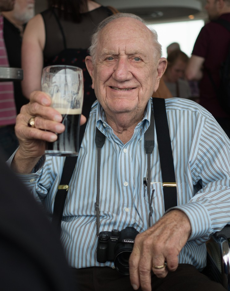 """My father enjoying """"Irish Wine"""" at the Guinness Brewery in Dublin, Ireland, July 2014.  Cheers Dad !"""